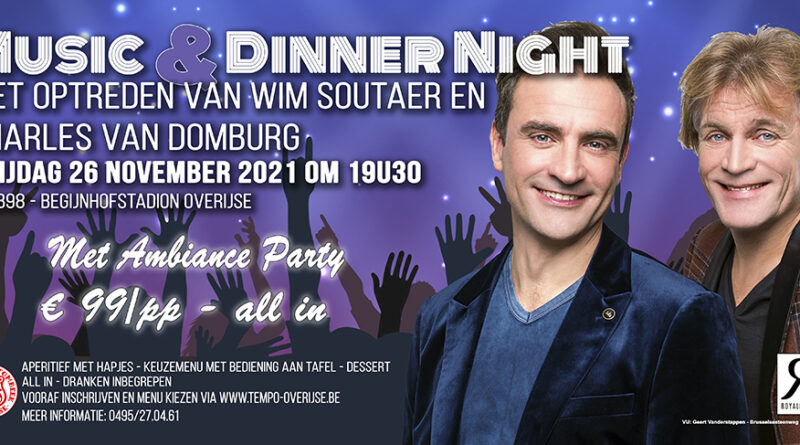 Nieuwe datum Music & Dinner Night: vrijdag 26 november 2021