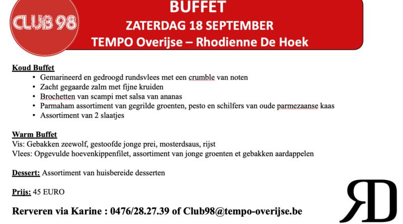 CLUB98 buffet voor 18 september : TEMPO Overijse – Rhodienne De Hoek