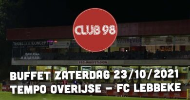 Buffet voor wedstrijd tegen FC Lebbeke op zaterdag 23 oktober