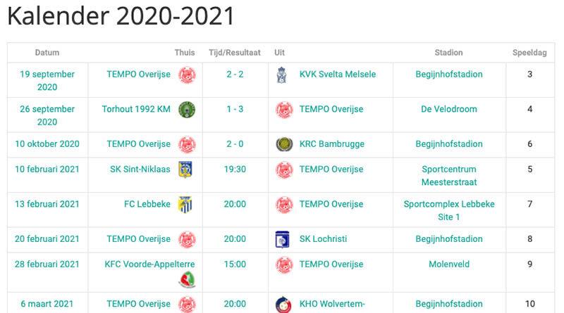 Nieuwe kalender 2020-2021